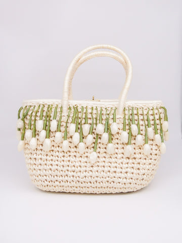 1960's Raffia Bag with Flower Fringe