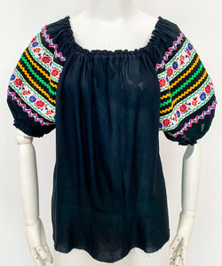 Black Peasant Top with Embellished Sleeves