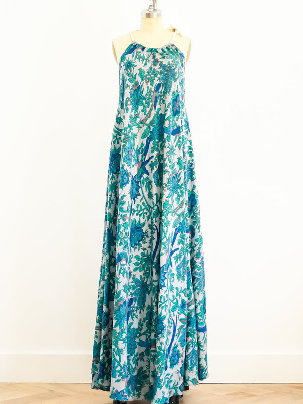 Bird Print Blue Sleeveless Caftan
