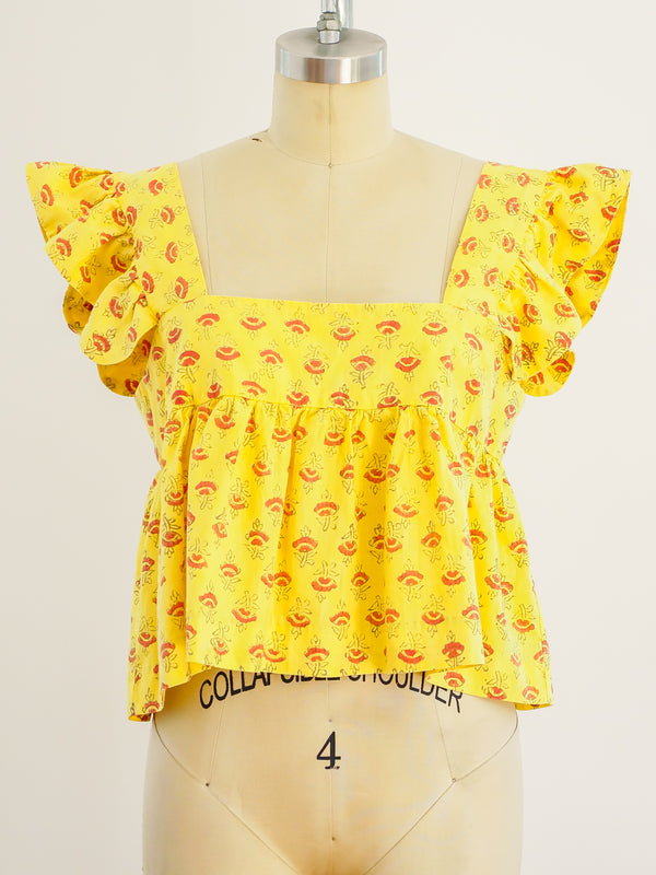 Lemon Block Printed Ruffle Crop Top