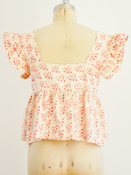 Beige Block Printed Ruffle Crop Top
