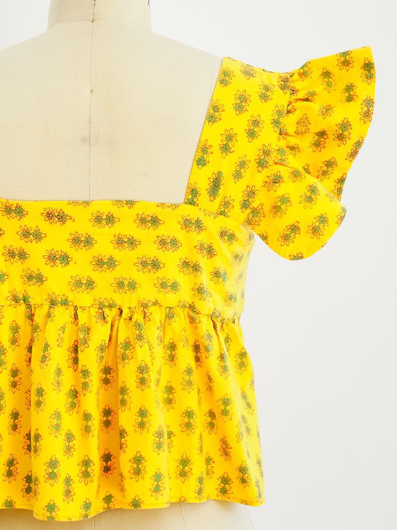 Sunflower Block Printed Ruffle Crop Top