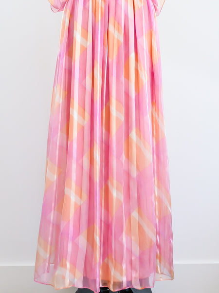Teal Traina Pink Chiffon Gown