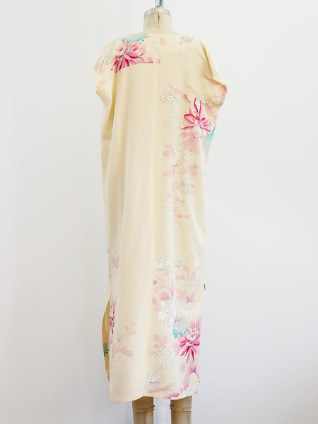 Upcycled Hand Painted Crepe Gown