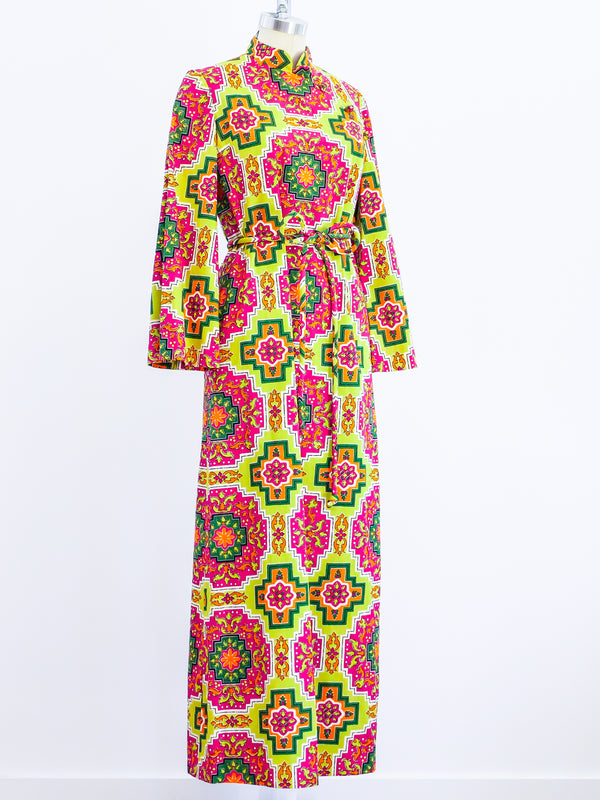 Printed Cotton Caftan with belt