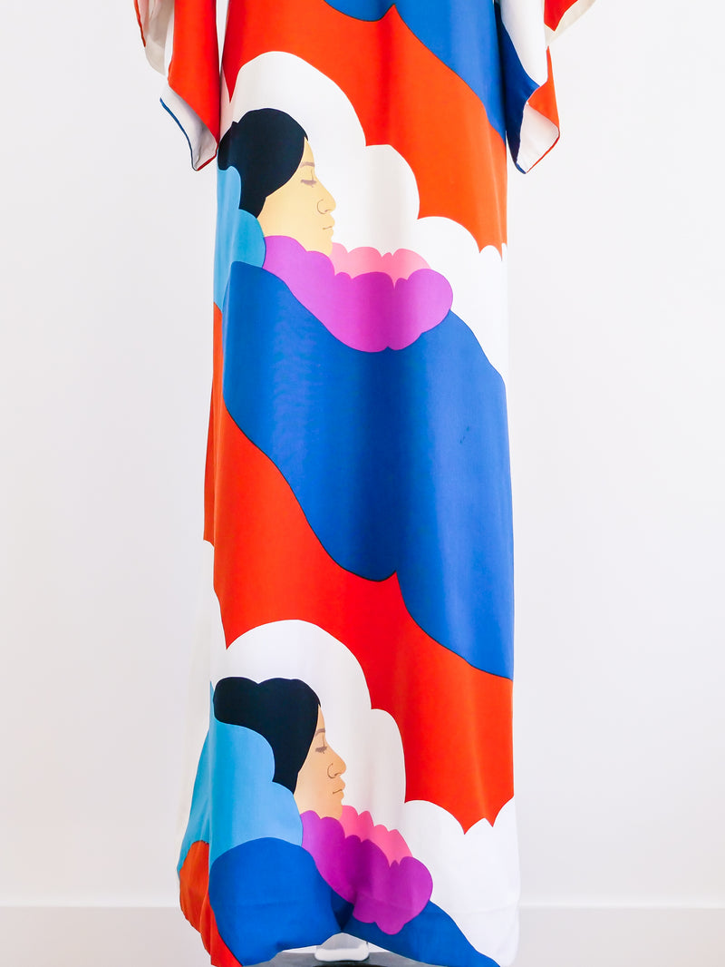Cloud Printed Hawaiian Caftan