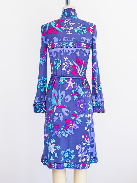 Bessi Printed Silk Jersey Belted Dress