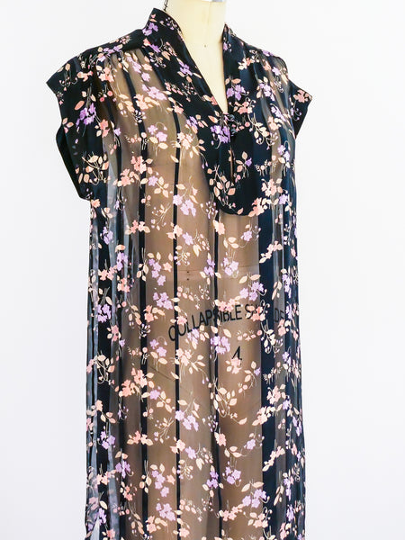 Sheer Floral Silk Chiffon Dress