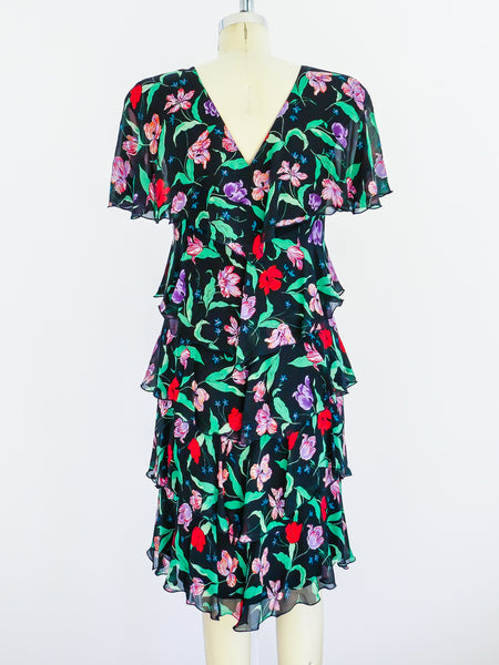 Holly's Harp Black Floral Tiered Chiffon Dress