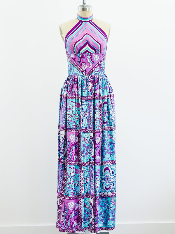 Donald Brooks Patchwork Print Halter Gown with Scarf