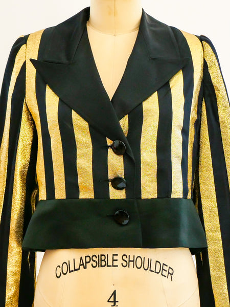 Valentino Lurex Stripe Cropped Jacket