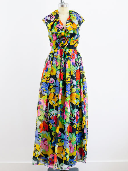 Floral Chiffon Halter Gown