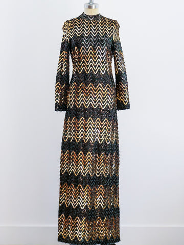 1970's Chevron Sequined Gown
