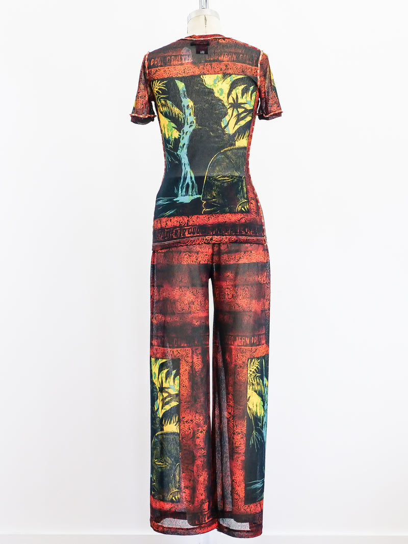 Jean Paul Gaultier Printed Mesh Ensemble