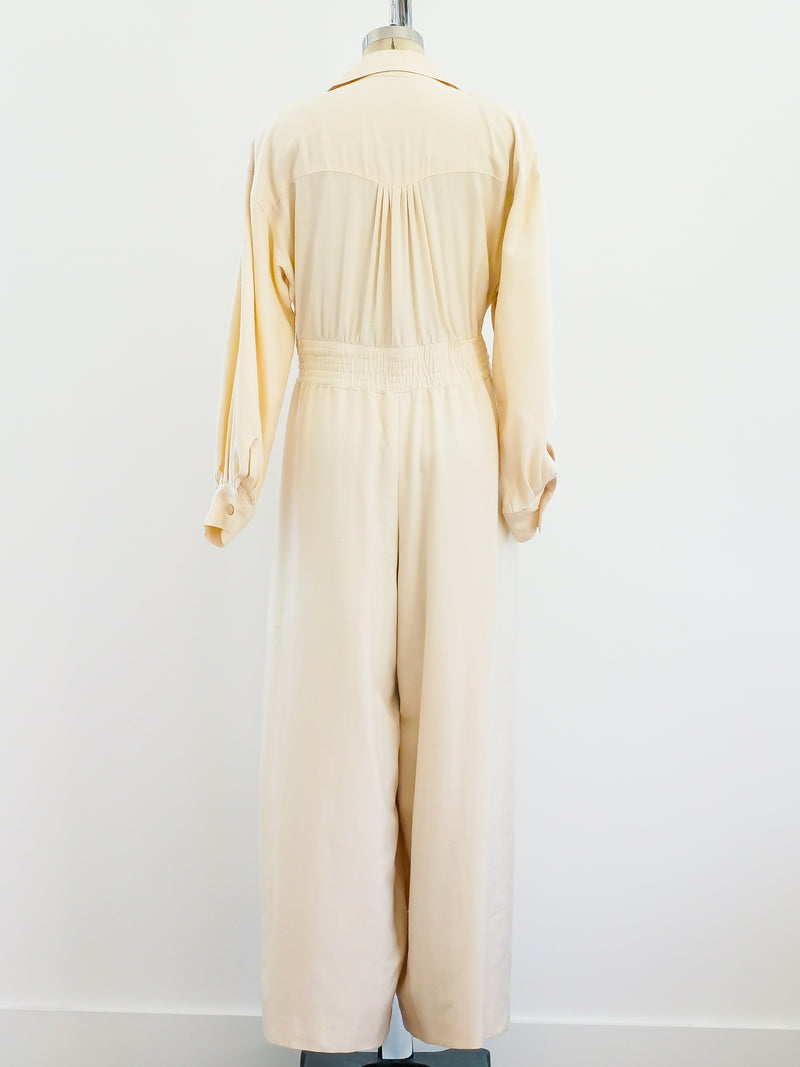 Ivory Raw Silk Belted Jumpsuit