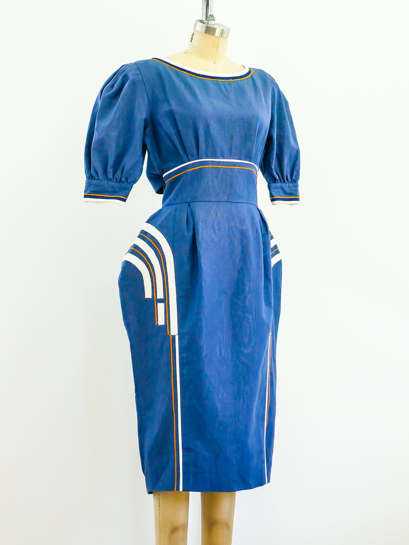 Sculptural Blue Linen Dress