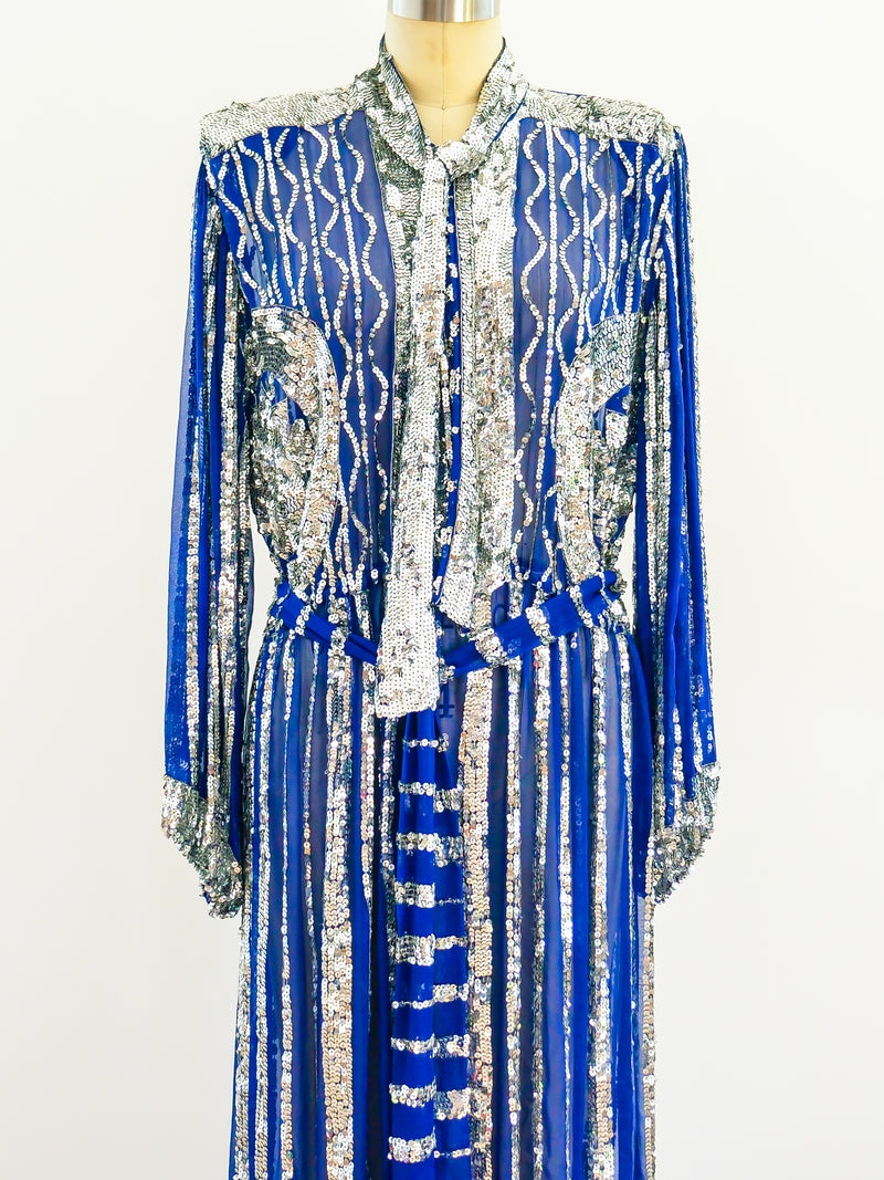Sequin Embellished Silk Chiffon Dress