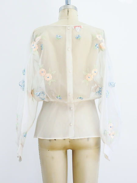 Floral Embellished Sheer Top