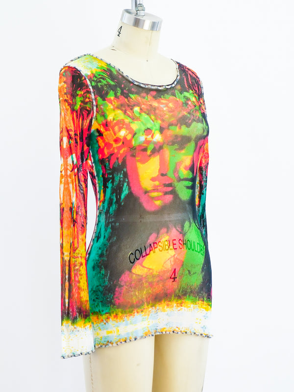 Jean Paul Gaultier Face Print Mesh Top