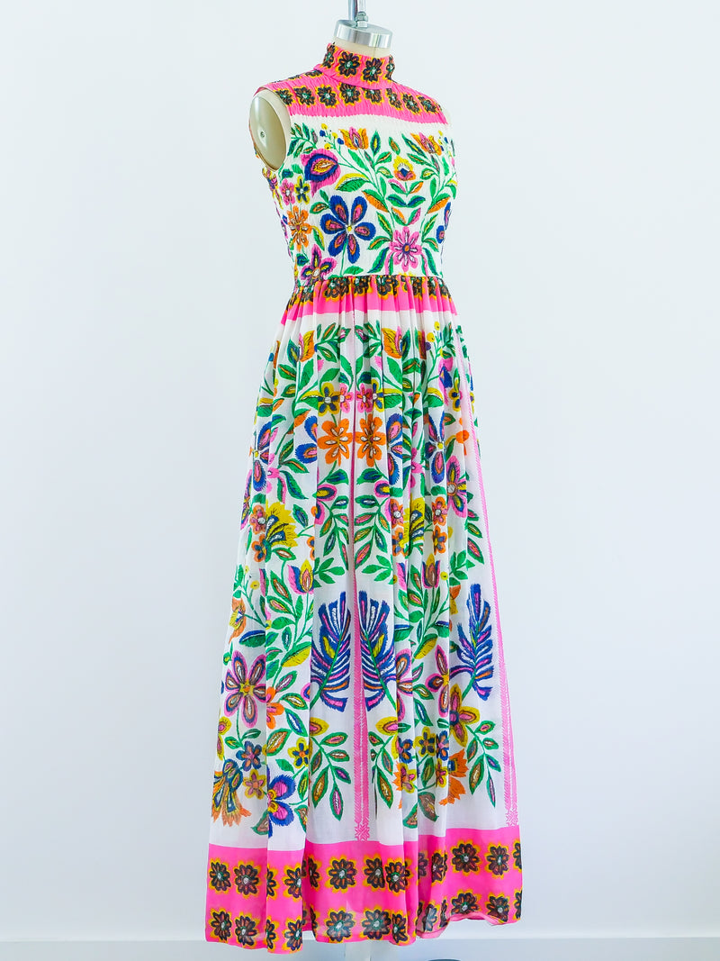 1960s Neon Floral Print Sleeveless Dress