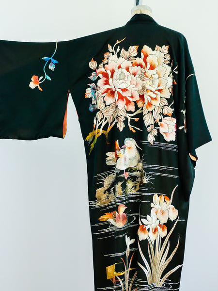 Antique Floral Embroidered Silk Kimono