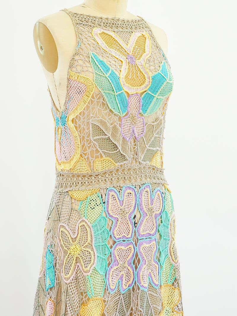 Pastel Pieced Hand Crocheted Sleeveless Dress
