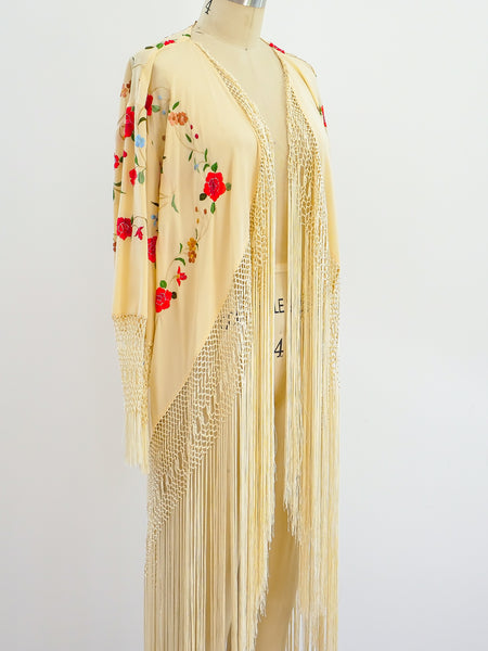 Silk Piano Shawl Duster With Fringe