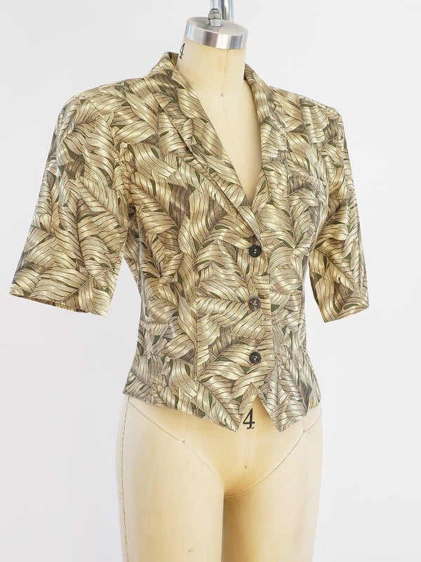 Gucci Palm Print Short Sleeved Jacket