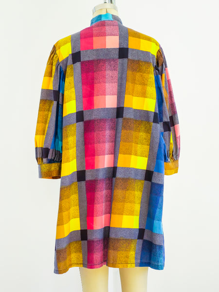 1960s Checked Housecoat with Puff Sleeves