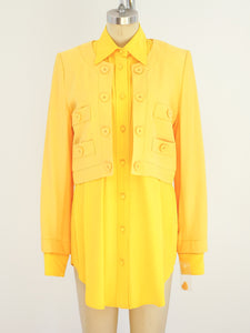 1990s Yellow Shirt With Attached Jacket