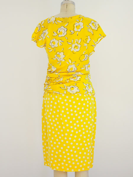 Ungaro Yellow Floral And Polka Dot Ensemble