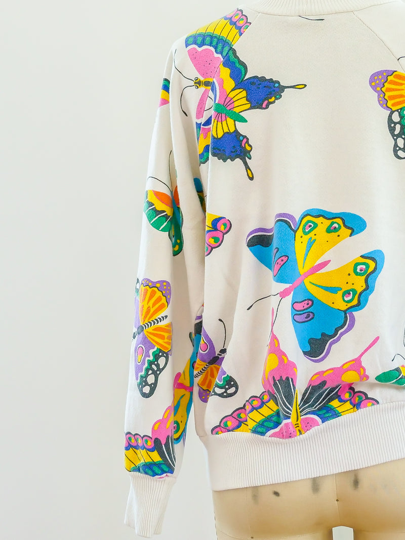 Butterfly Printed Graphic Sweatshirt