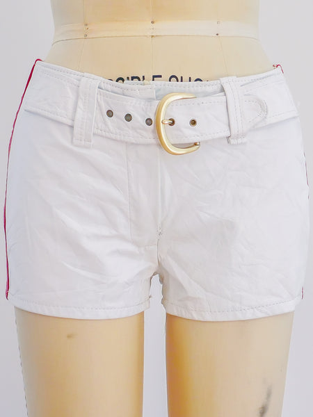 1970s White Leather Racing Shorts