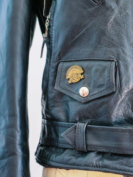 Classic Leather Motorcycle Jacket with Patches