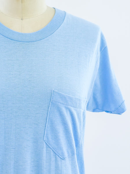 Light Blue Blank Pocket Tee
