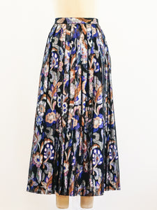 Floral Lurex Pleated Skirt