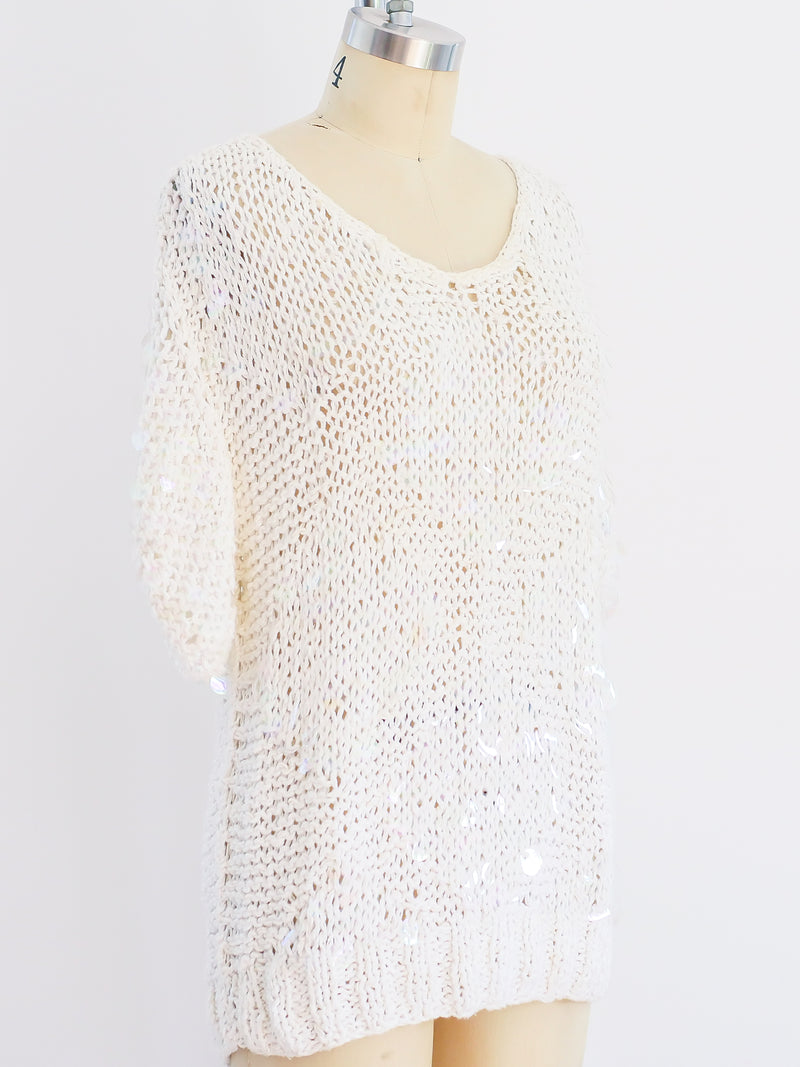 Iridescent Paillette Short Sleeved Sweater