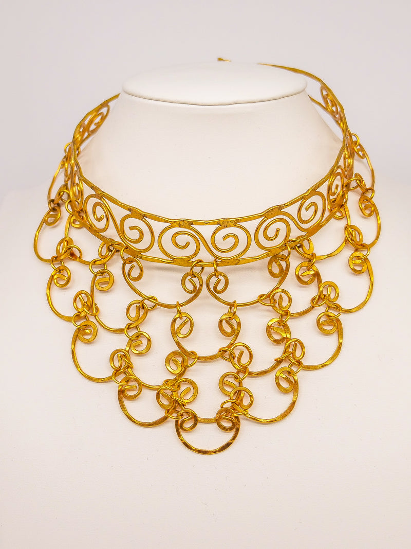 Scrolled Wire Bib Necklace