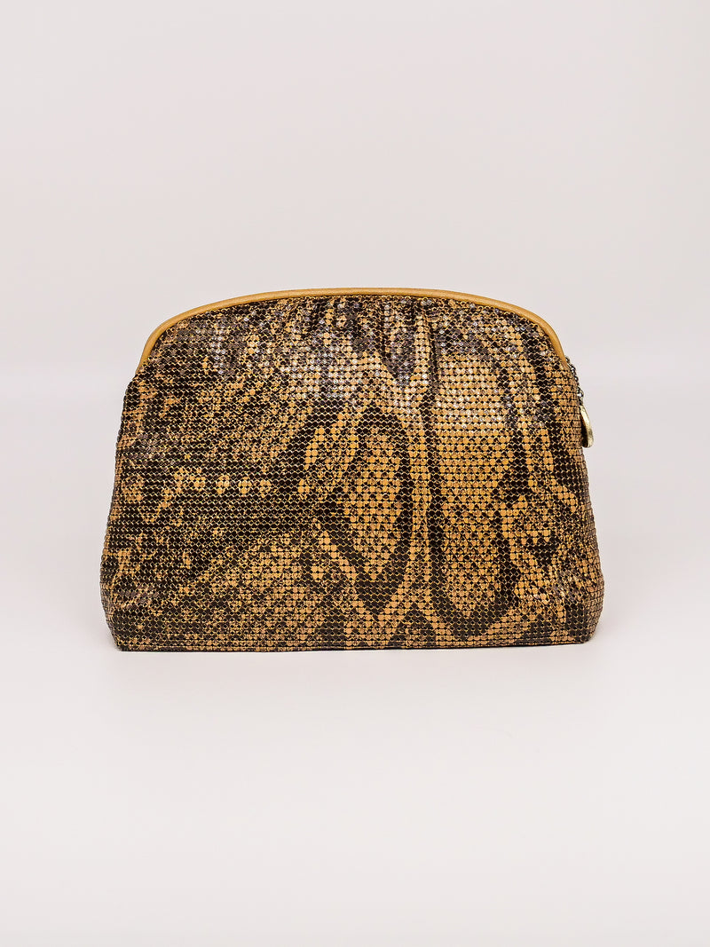 Whiting and Davis Snake Print Metal Mesh Clutch