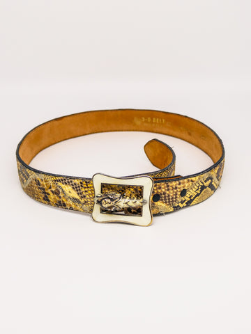Enamel Tiger Buckle Snakeskin Belt