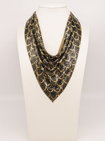 Whiting and Davis Feather Print Metal Mesh Bib