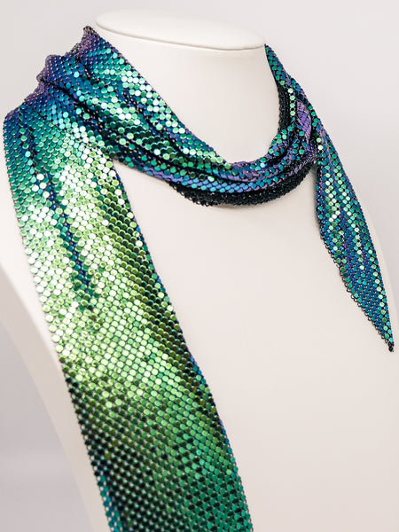 Iridescent Whiting and Davis Metal Mesh Scarf