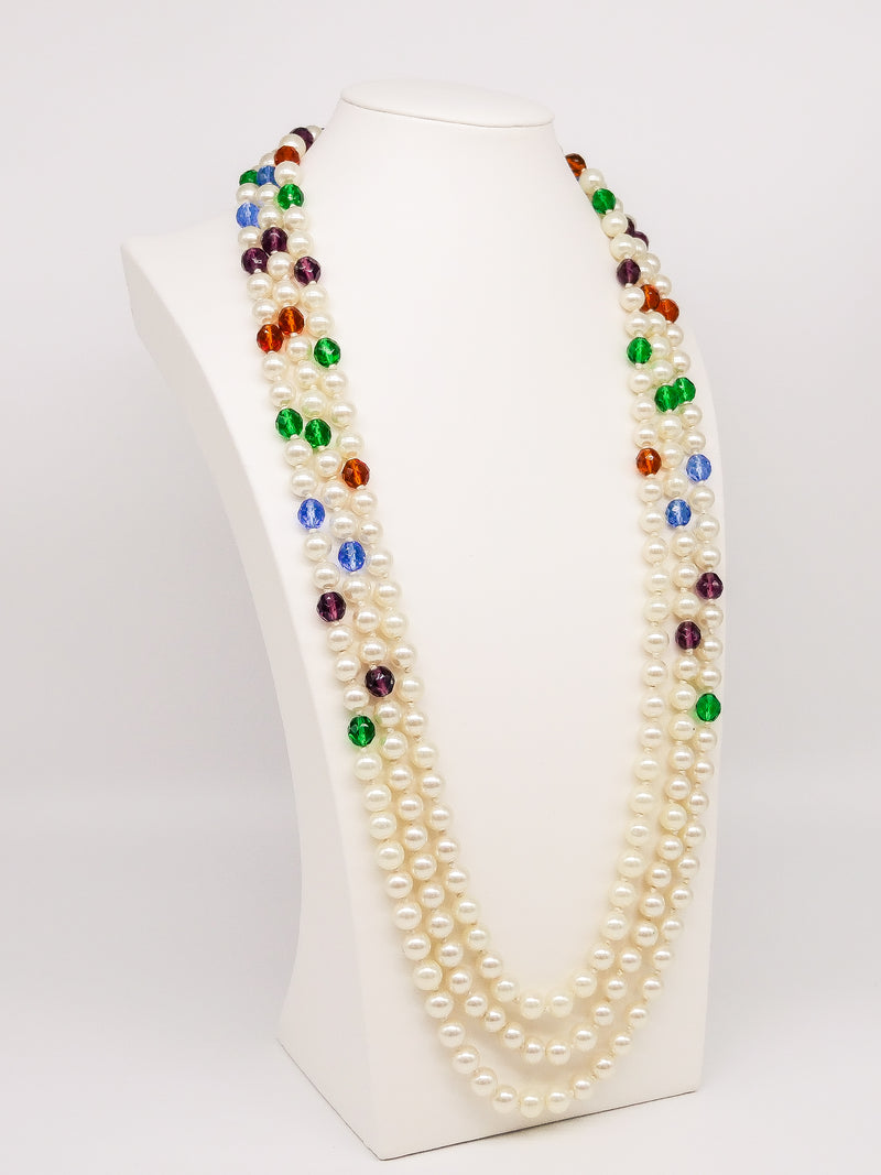 Moschino Pearl Bead Three Strand Necklace