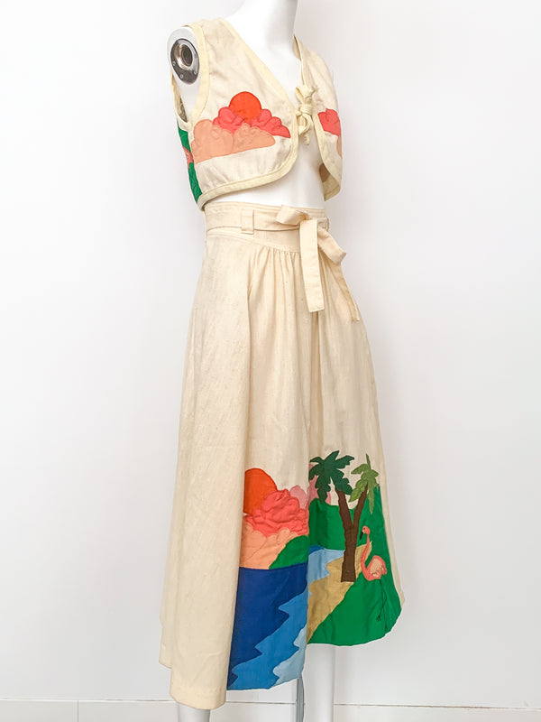 1970's Beach Applique Ensemble