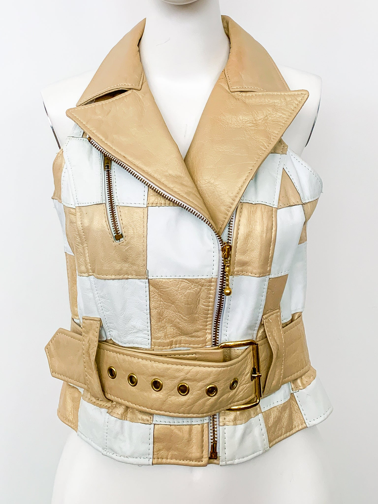 1980's Patchwork Leather Vest