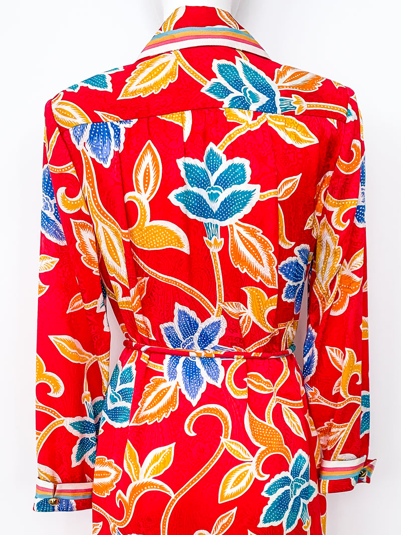 Adolfo Silk Floral Shirtdress