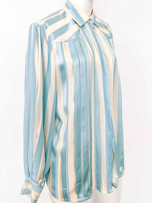 1980s Silk Striped Blouse