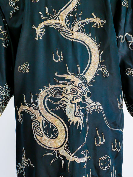 Dragon Embroidered Chinese Silk Robe
