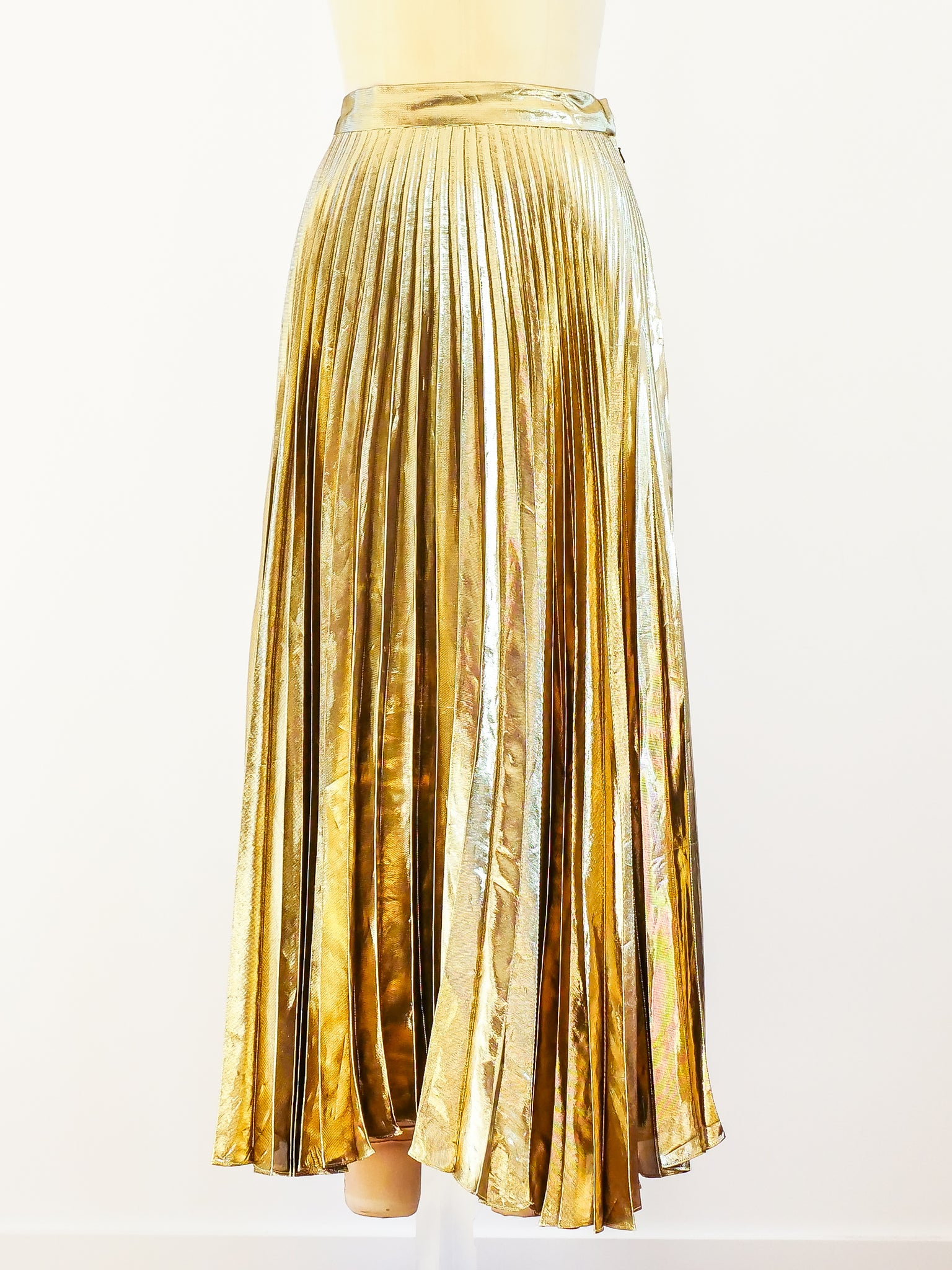 Gold Lurex Pleated Skirt