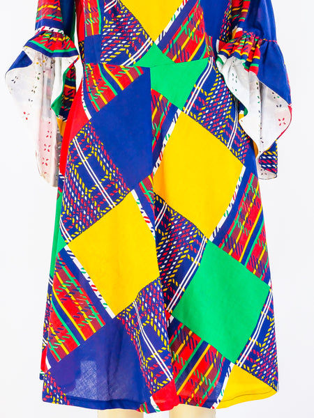 Patchwork Printed Plaid Dress